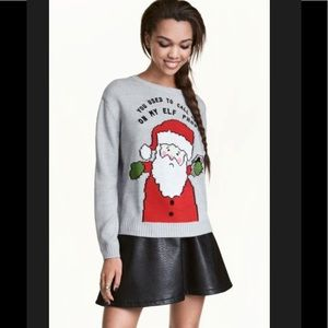 H&M Christmas Elf Drake Cell Phone Sweater (XS)